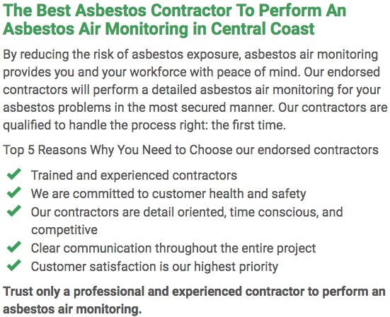 Asbestos Watch Central Coast - air monitoring left