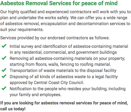 Asbestos Watch Central Coast - removal right