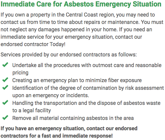 Asbestos Watch Central Coast - emergency repairs Adelaide