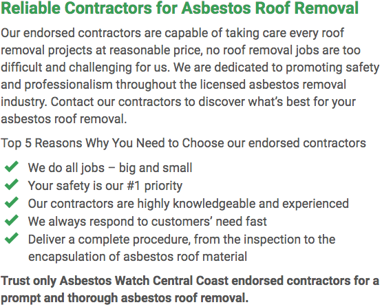 Asbestos Watch Central Coast - roof removal left