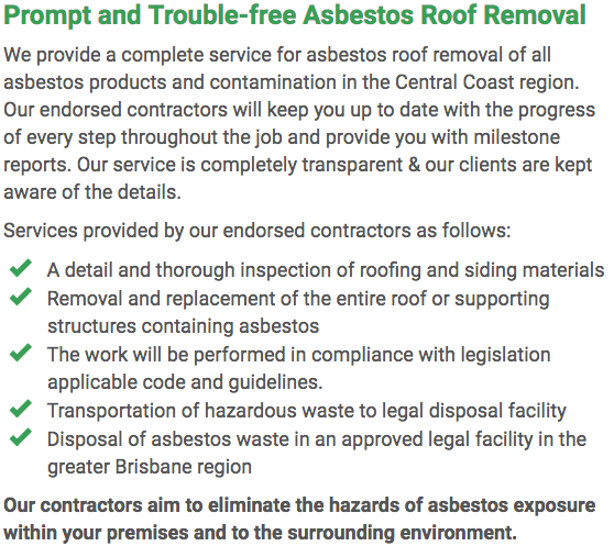 Asbestos Watch Central Coast - roof removal right